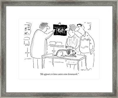 He Appears To Have Eaten Some Homework Framed Print by Arnie Levin