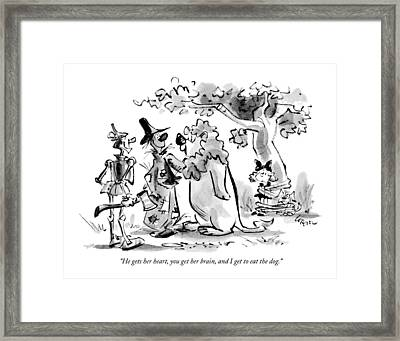 He Gets Her Heart Framed Print by Lee Lorenz