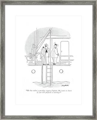 He Has Rather A Peculiar Request Framed Print by M. K. Barlow