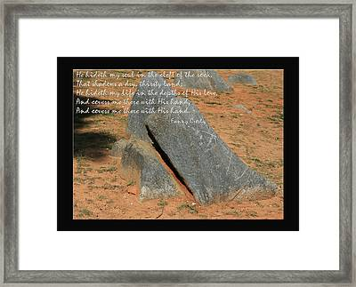 He Hideth Me In The Cleft Fanny Crosby Hymn Framed Print