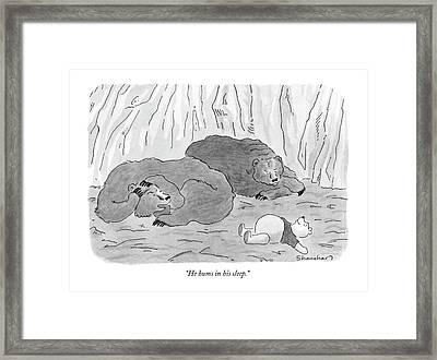 He Hums In His Sleep Framed Print
