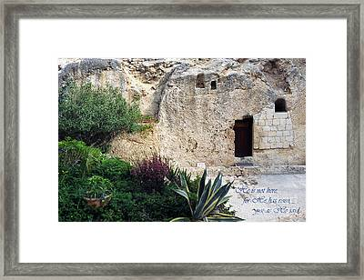 He Is Not Here Framed Print