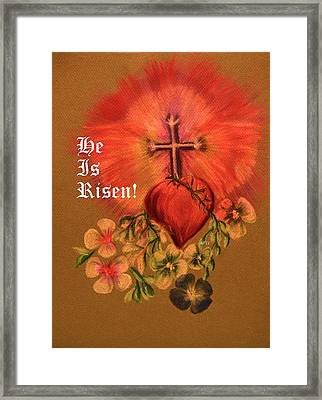 He Is Risen Greeting Card Framed Print by Maria Urso
