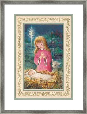 He Lay In A Manger Gouache Framed Print by Stanley Cooke