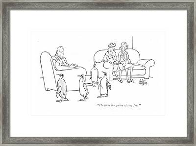 He Likes The Patter Of Tiny Feet Framed Print by George Price