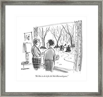 He Likes To Do It For The Yale-harvard Game Framed Print