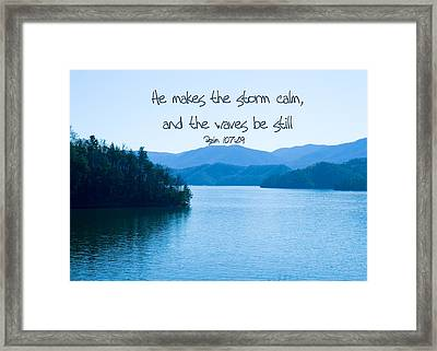 He Makes The Storm Calm Framed Print by Denise Beverly