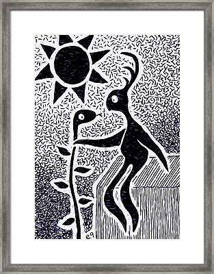 He Quickly Realized It Was No Ordinary Vine Troubling His Apple Tree. Framed Print by e9Art