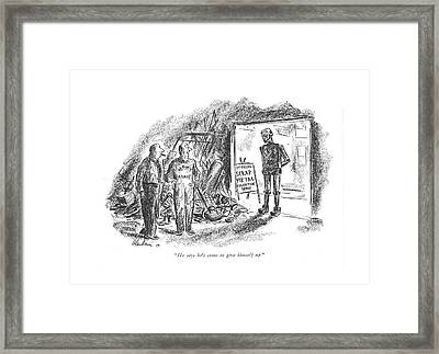 He Says He's Come To Give Himself Up Framed Print by Alan Dunn