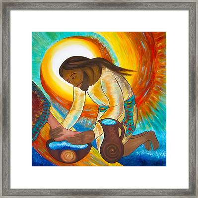 He Showed The Full Extent Of His Love Framed Print by Sister Rebecca Shinas