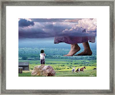He Still Walks Here Framed Print