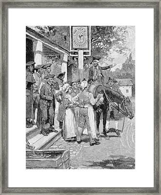 He Stops At The Sign Of The Weathervane, Illustration From Tilighmans Ride From Yorktown, Pub Framed Print by Howard Pyle