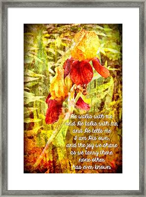 He Walks With Me Framed Print by Michelle Greene Wheeler
