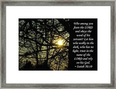 He Who Walks In Darkness Framed Print by Robyn Stacey