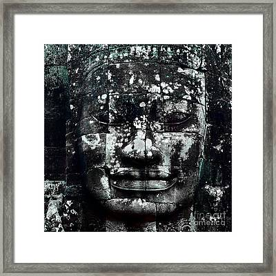 Head At Angkor Thom Framed Print by Julian Cook