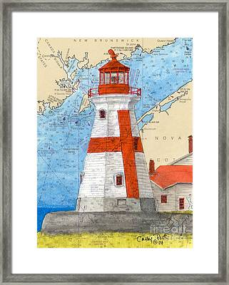 Head Harbor E Quoddy Lighthouse Nb Canada Nautical Chart Art  Framed Print by Cathy Peek