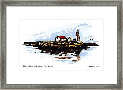 Head Harbour Lighthouse - Field Sketch Framed Print