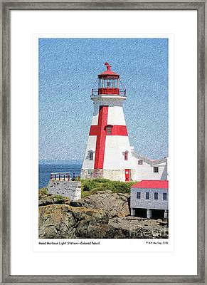 Head Harbour Lighthouse Pencil Sketch Framed Print by Art  MacKay