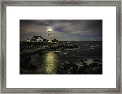 Head Light By Night Framed Print
