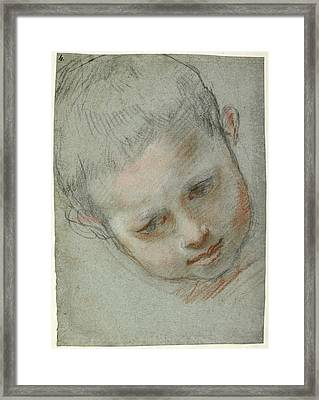 Head Of A Boy Recto,  Figure Studies Verso Federico Barocci Framed Print by Litz Collection
