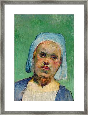Head Of A Breton Framed Print by Paul Gauguin