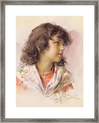 Head Of A Girl Framed Print by Ludwig Passini
