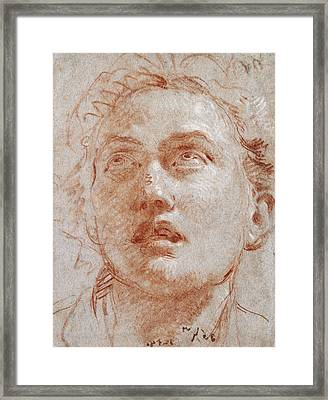 Head Of A Man Looking Up Framed Print by Giovanni Battista Tiepolo