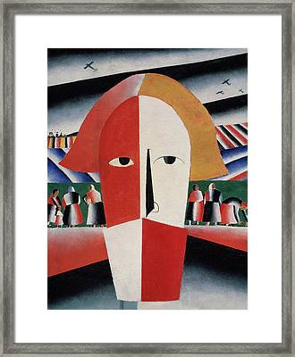 Head Of A Peasant Framed Print by Kazimir  Malevich