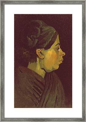 Head Of A Peasant Woman, C.1884 Oil On Canvas On Wood Panel Framed Print by Vincent van Gogh