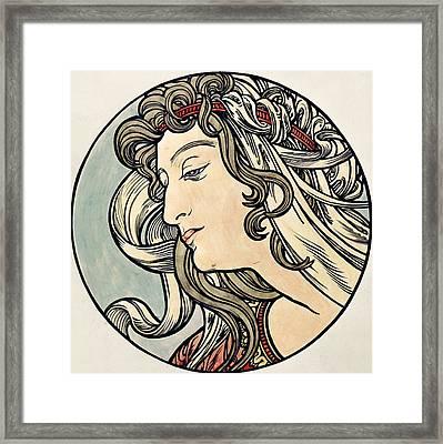 Head Of A Woman Framed Print by Alphonse Marie Mucha
