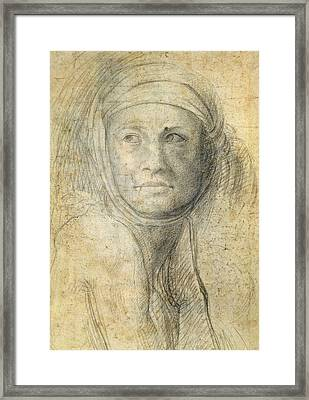 Head Of A Woman Framed Print by Michelangelo Buonarroti
