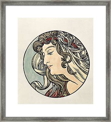 Head Of A Woman  Framed Print by Alphonse Marie Mucha