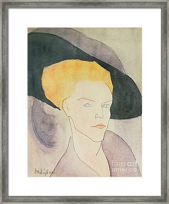 Head Of A Woman Wearing A Hat Framed Print by Amedeo Modigliani