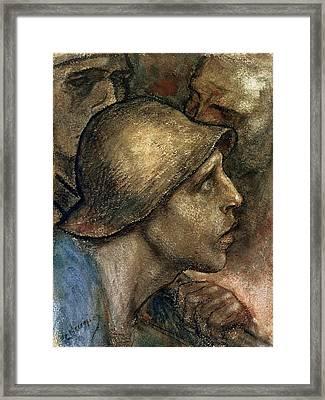 Head Of A Worker Framed Print by Constantin Emile Meunier