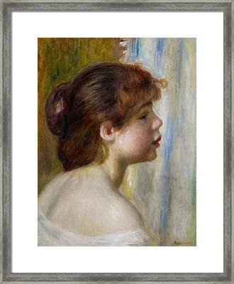 Head Of A Young Woman Framed Print by Pierre Auguste Renoir