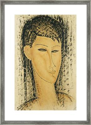 Head Of A Young Women Framed Print by Amedeo Modigliani