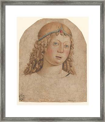 Head Of A Youth With A Diadem Framed Print by Cristoforo Caselli