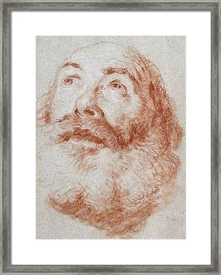 Head Of An Old Man Looking Up Framed Print by Giovanni Battista Tiepolo