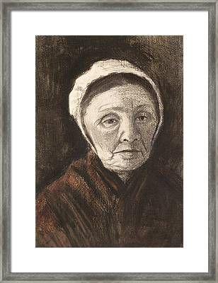 Head Of An Old Woman In A Scheveninger Framed Print by Vincent van Gogh