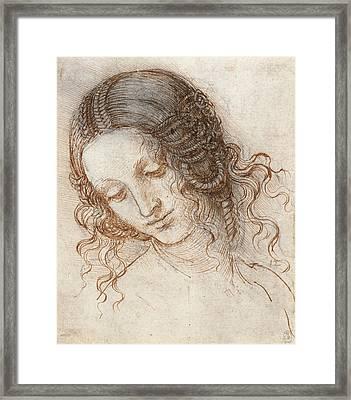 Head Of Leda Framed Print by Leonardo da Vinci