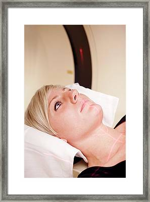 Head Of Patient In A Ct Scanner Framed Print by Thomas Fredberg