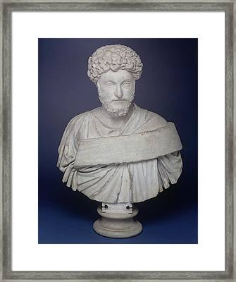 Head Of The Emperor Marcus Aurelius Framed Print by Roman School