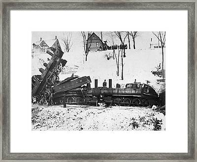 Head On Train Wreck Framed Print by Underwood Archives
