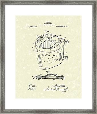 Head Protector 1914 Patent Art Framed Print by Prior Art Design
