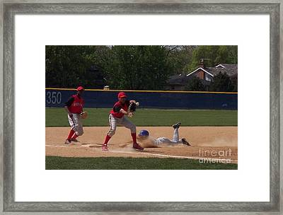 Head Slide In Baseball Framed Print by Thomas Woolworth