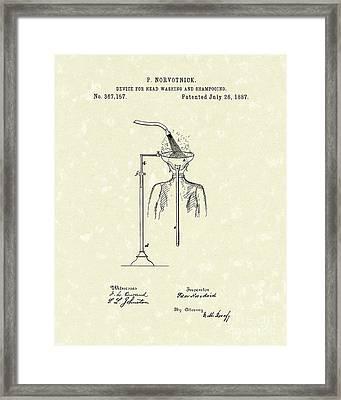 Head Washer 1887 Patent Art Framed Print by Prior Art Design