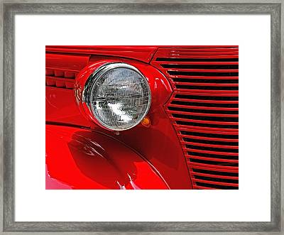 Framed Print featuring the photograph Headlight On Red Car by Ludwig Keck