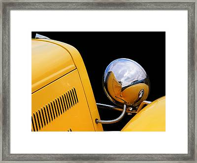 Headlight Reflections In A 32 Ford Deuce Coupe Framed Print