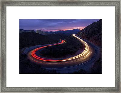 Headlights And Brake Lights Framed Print