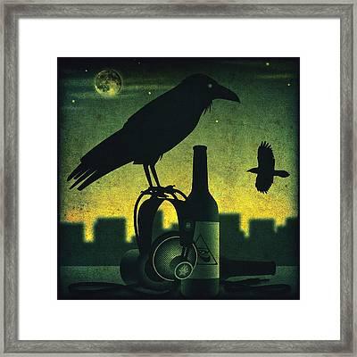 Headphone Raven Framed Print by Milton Thompson